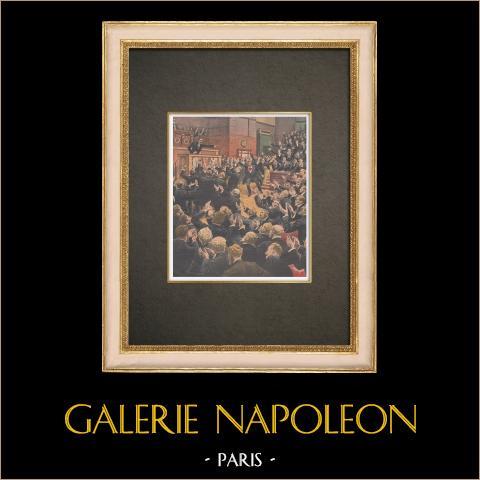 Incidente en la Cámara de Diputados en Paris - 1910 | Grabado xilográfico original impreso en cromotipografia. Anónimo. Reverso impreso. 1910