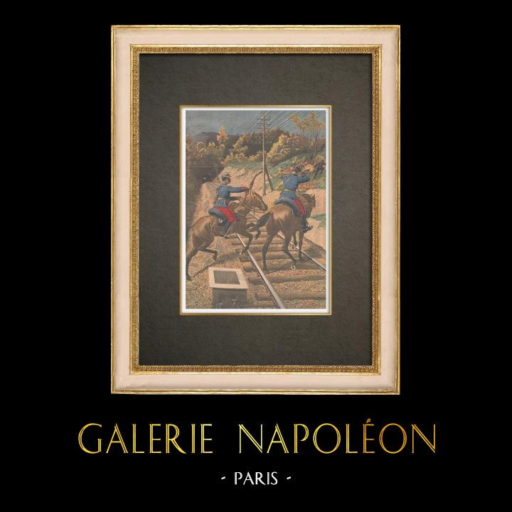 Gravures Anciennes & Dessins | Sabotage des voies ferrées dans l'Oise - France - 1910 | Gravure sur bois | 1910