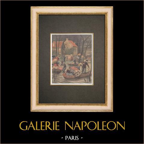 Novas inundações em Paris - 1910 | Xilogravura original impressa em cromotipografia. Anónima. Reverso impresso. 1910