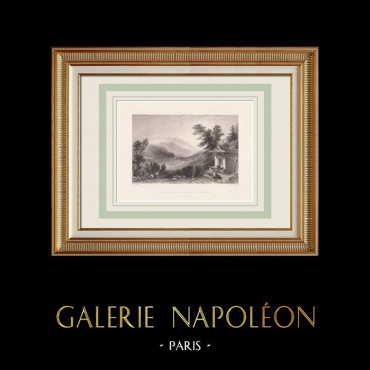 Grabados & Dibujos Antiguos | Vista de Pilatus - Lago de los Cuatro Cantones (Suiza) | Grabado en talla dulce | 1836