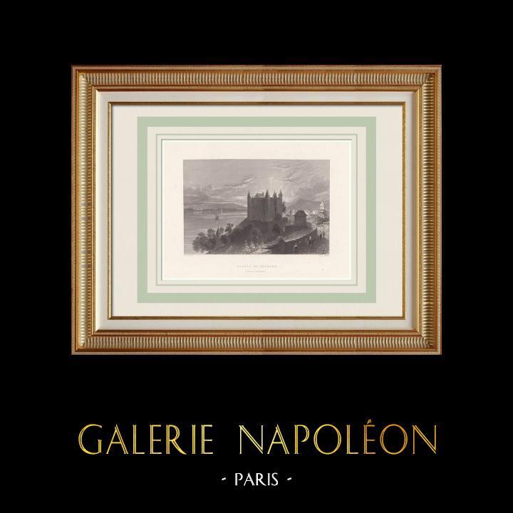 Antique Prints & Drawings | Grandson Castle - Lake Neuchâtel - Canton de Vaud (Switzerland) | Intaglio print | 1836