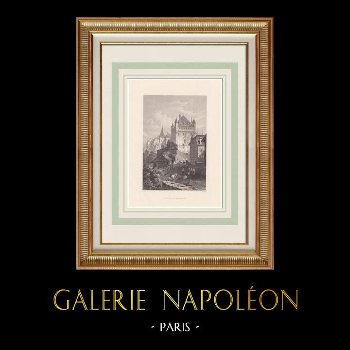 Gravures Anciennes & Dessins | Château Saint-Maire à Lausanne - Canton de Vaud (Suisse) | Taille-douce | 1836
