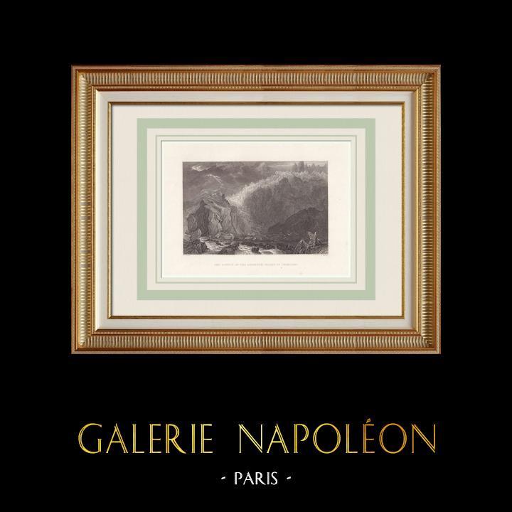 Antique Prints & Drawings | Arveyron - Torrent of the Mer de Glace - Chamonix - Haute-Savoie (France) | Intaglio print | 1836