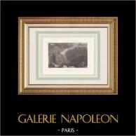 Arveyron - Torrent de la Mer de Glace - Chamonix - Haute-Savoie (France) | Gravure originale en taille-douce sur acier dessinée par Bartlett, gravée par Radclyffe. 1836
