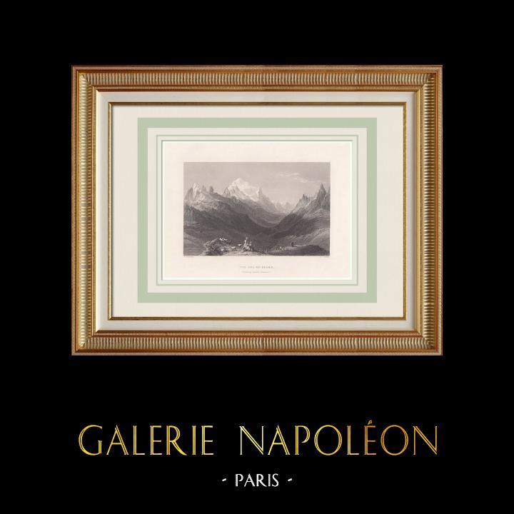 Oude Prenten & Tekeningen | Gezicht op col de Balme (Frans-zwitserse Grens) | Staalgravure | 1836