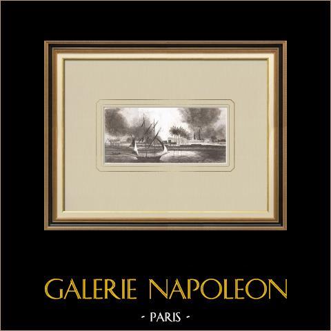 Incendie à Salmie - Guerres Napoléoniennes (Egypte) | Gravure sur cuivre originale dessinée par Denon, gravée par Pillement. 1830