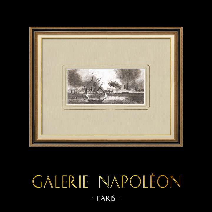 Stare Grafiki & Rysunki | Spalanie w Salmyeh - Wojny Napoleońskie (Egipt) | Miedzioryt | 1830