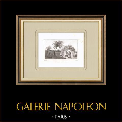 Maison nubienne près des cataractes (Egypte) | Gravure sur cuivre originale dessinée par Denon, gravée par Laderer. 1830