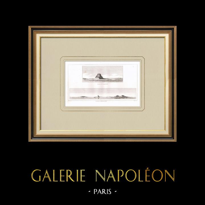 Antique Prints & Drawings | Pyramid of Senusret II in El-Lahoun - Meydoun (Egypt) | Copper engraving | 1830
