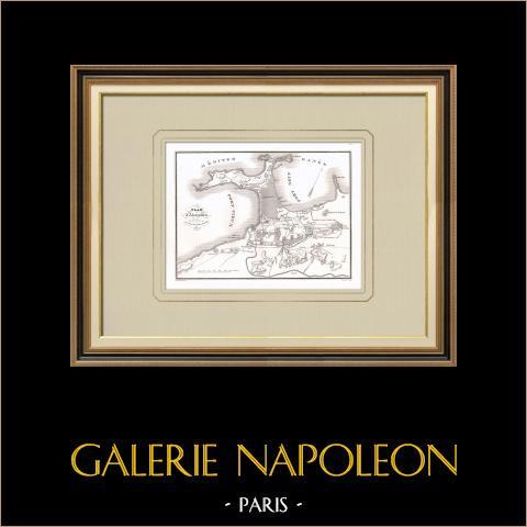 Plan de Alexandrie (Egypte) | Gravure sur cuivre originale dessinée par Bailly, gravée par Chazal d'après Dénain. 1830