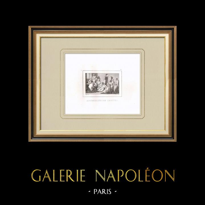 Stare Grafiki & Rysunki | Zgromadzenie Szejków - Kampania Napoleońska w Egipcie (Egipt) | Miedzioryt | 1830