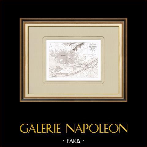 Plan du Caire et de ses environs - Campagne d'Égypte (Egypte) | Gravure sur cuivre originale dessinée par Bailly, gravée par Gouget. 1830