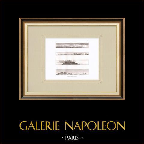 Vista de las costillas - Cerdeña - Marettimo - Campaña Napoleónica en Egipto  | Grabado original en talla dulce sobre cobre grabado por Laderer. 1830
