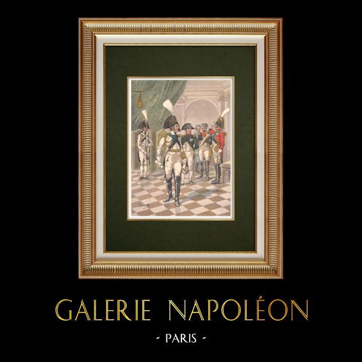 Alte Stiche & Zeichnungen | Napoleon I. und die Ehrengarde von Straßburg - Elsass - Frankreich (1806) | Grafik | 1911