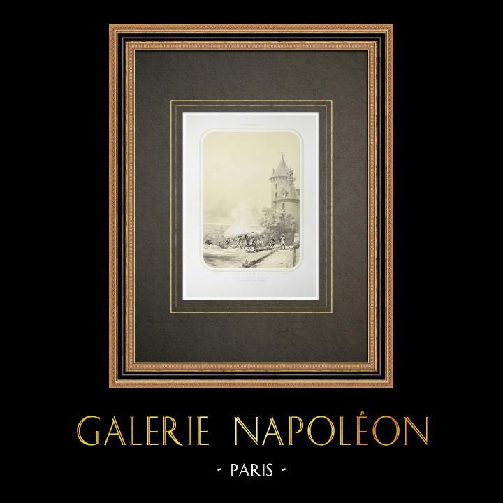 Oude Prenten & Tekeningen | Verovering van het Kasteel van Jallais - Oorlog in de Vendée (1793) | Lithografie | 1860