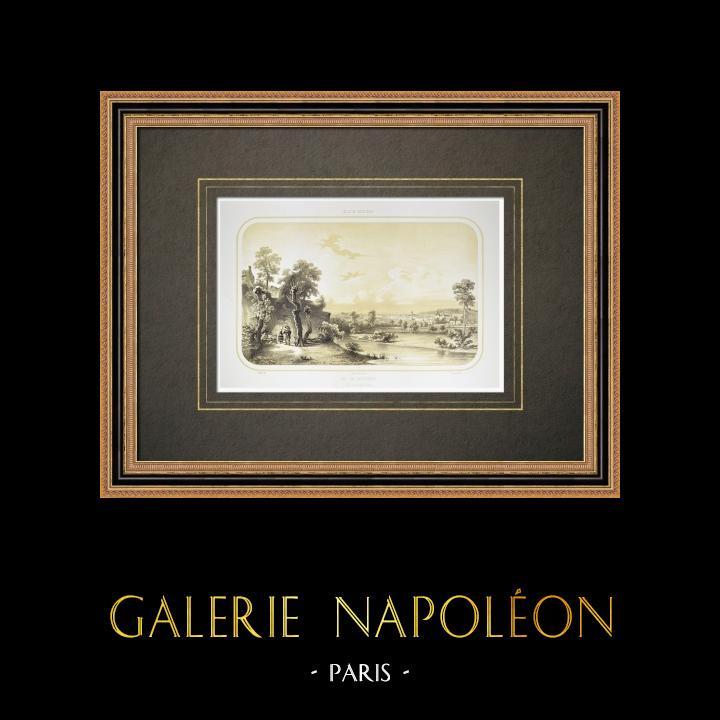 Grabados & Dibujos Antiguos | Vista de Beaupréau - Èvre - Maine y Loira - Maine-et-Loire (Francia) | Litografía | 1860