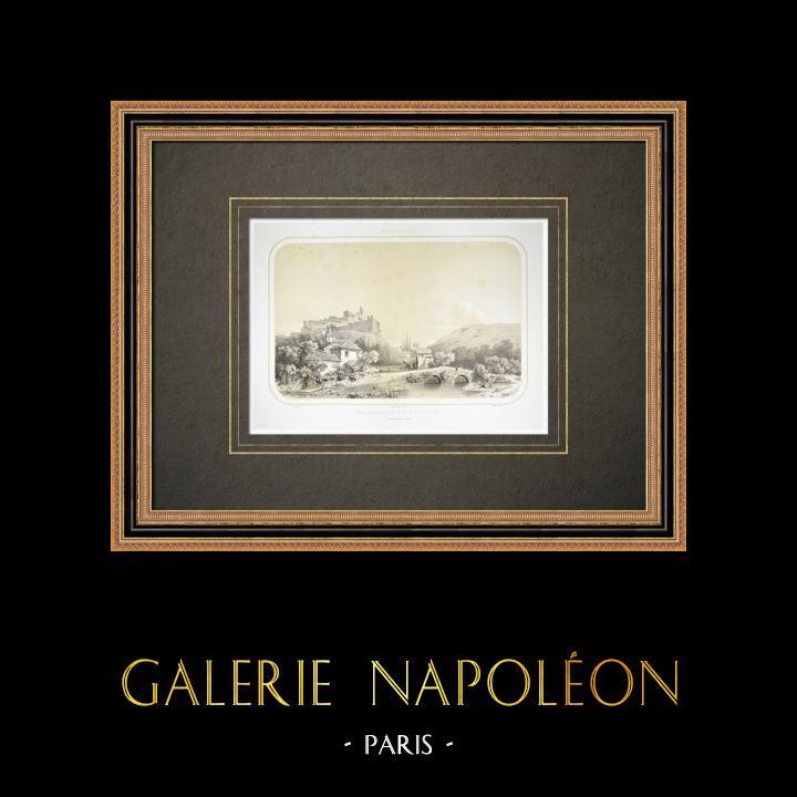 Grabados & Dibujos Antiguos | Vista de Châtillon-sur-Sèvre - Mauléon - Mont Gaillard - Deux-Sèvres (Francia) | Litografía | 1860