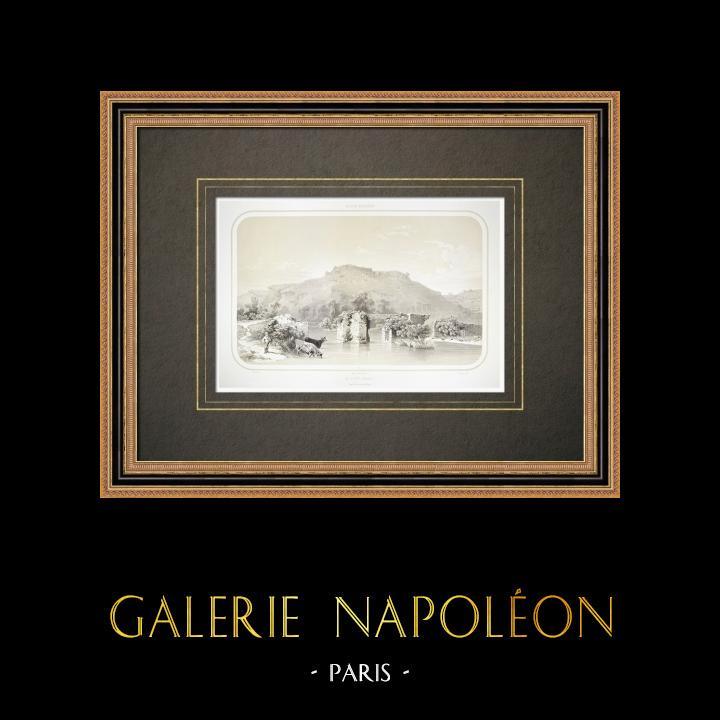 Grabados & Dibujos Antiguos | Le Pont Barré - Pays de la Loire - Maine-et-Loire (Francia) | Litografía | 1860