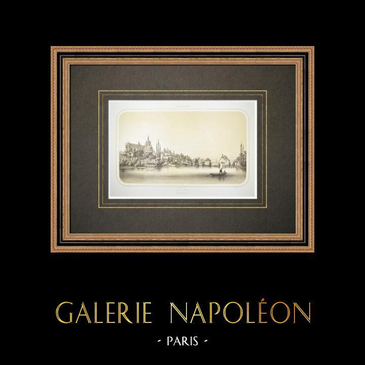 Alte Stiche & Zeichnungen | Ansicht von Le Mans - Kathedrale - Sarthe (Frankreich) | Lithografie | 1860