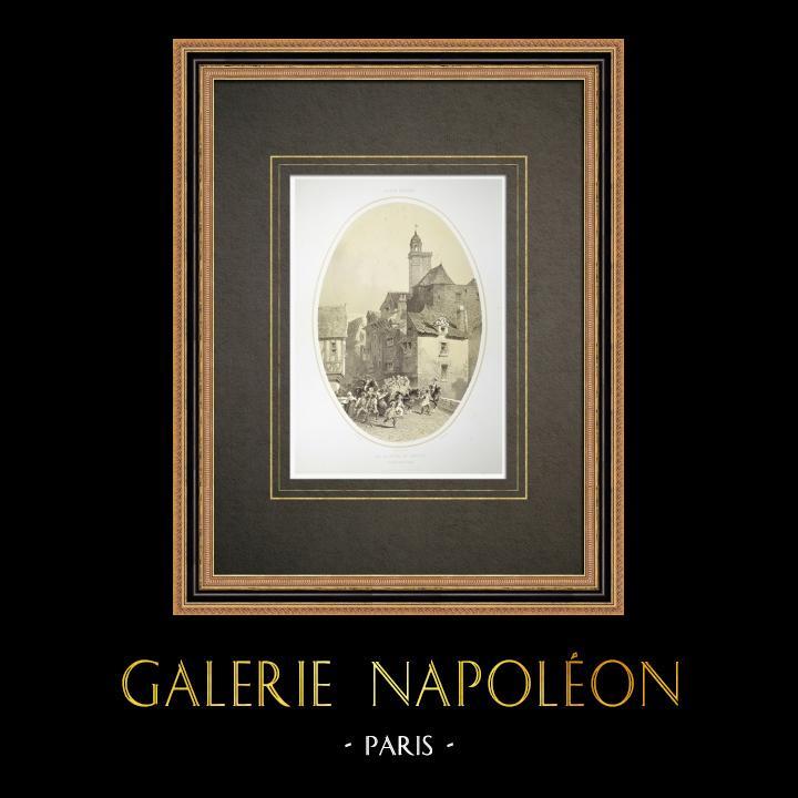 Alte Stiche & Zeichnungen | Le Bouffay in Nantes - Gefängnis - Loire-Atlantique (Frankreich) | Lithografie | 1860