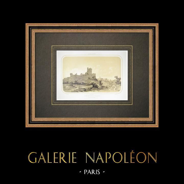 Alte Stiche & Zeichnungen | Ruinen des Talmont Burg - Pays de la Loire - Vendée (Frankreich) | Lithografie | 1860