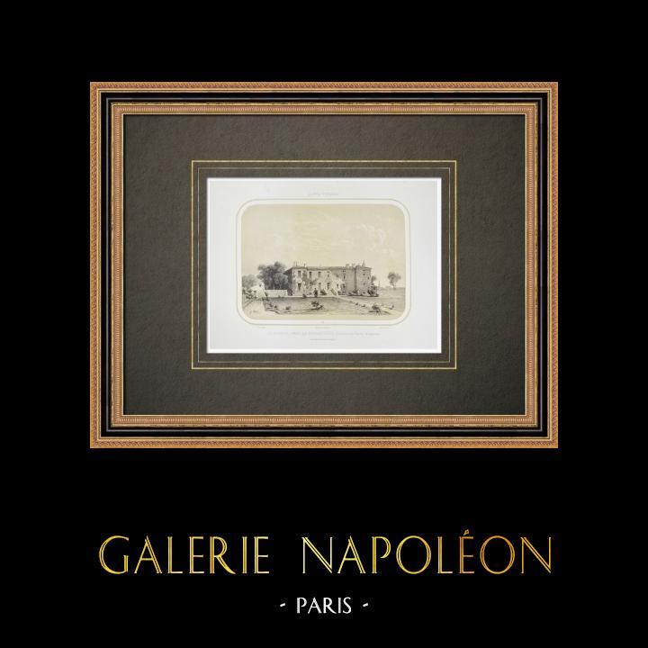 Grabados & Dibujos Antiguos | Castillo Le Sourdis cerca de La Gaubretière - General Sapinaud - Vandea (Francia) | Litografía | 1860