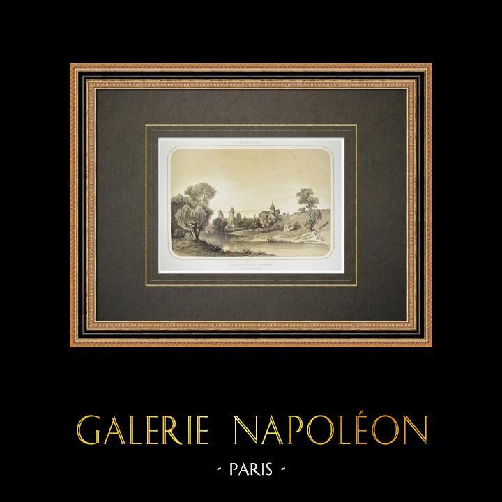 Gravuras Antigas & Desenhos | Ruínas do Castelo d'Apremont - Pays de la Loire - Vendéia (França) | Litografia | 1860