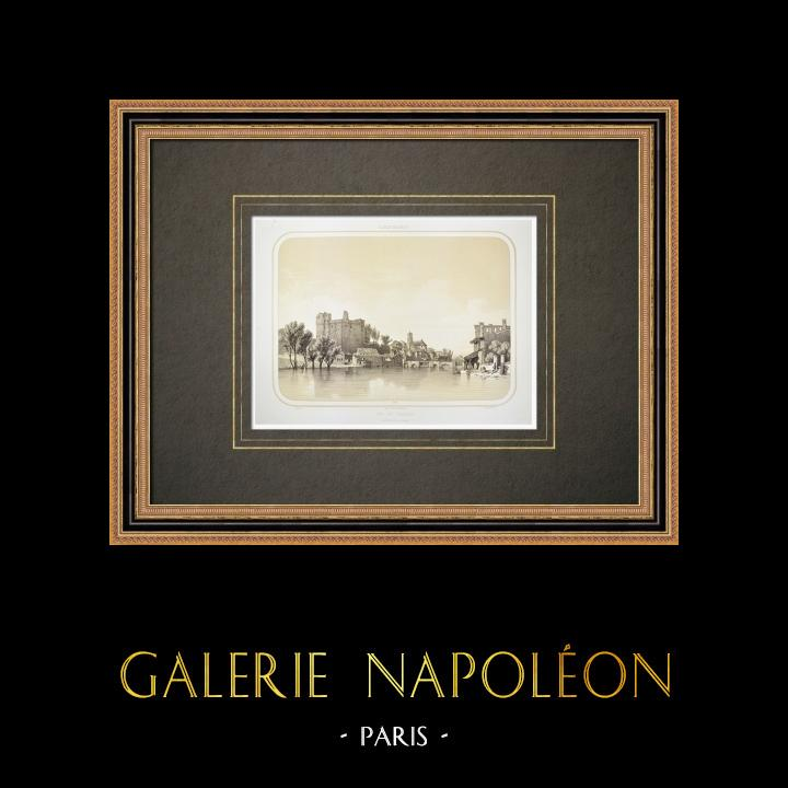 Stare Grafiki & Rysunki | Zamek Clisson - Sèvre Nantaise - Loire-atlantique (Francja) | Litografia | 1860