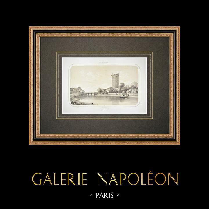 Alte Stiche & Zeichnungen | Burg von Oudon - Turm - Pays de la Loire - Loire-Atlantique (Frankreich) | Lithografie | 1860