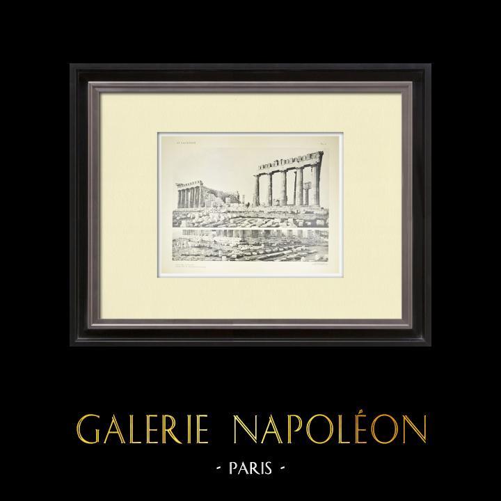 Alte Stiche & Zeichnungen | Ansicht von den Parthenon, Südseite (Griechenland) | Heliogravüre | 1912