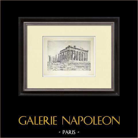Ansicht von den Parthenon, West- und Nordseite (Griechenland) | Original heliogravüre. Anonym. 1912