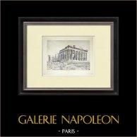 Veduta delle Partenone, lato ovest e nord (Grecia) | Heliogravure originale. Anonima. 1912