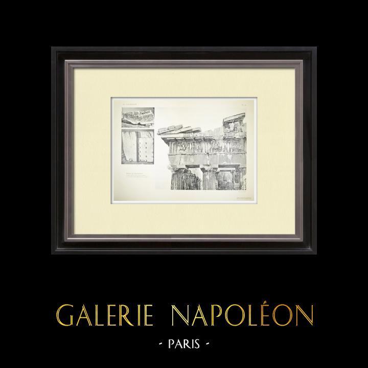 Stare Grafiki & Rysunki | Widok Partenon - Belkowanie (Grecja) | Heliograwiura | 1912