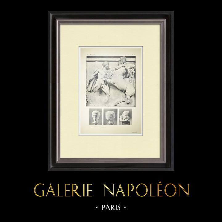 Gravures Anciennes & Dessins | Métopes du Parthénon - Face sud - VII - Centaure - Têtes (Grèce) | Héliogravure | 1912