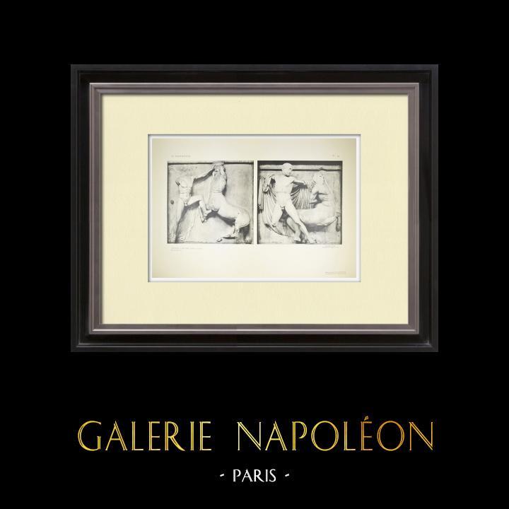 Grabados & Dibujos Antiguos | Metopas del Partenón - Centauro (Grecia) | Heliograbado | 1912