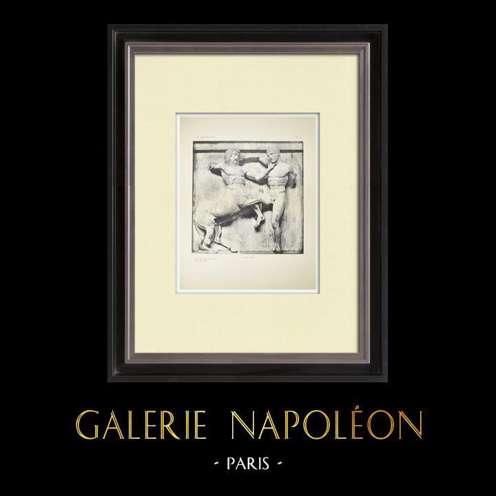 Gravures Anciennes & Dessins | Métopes du Parthénon - Face sud - XXXI - Centaure (Grèce) | Héliogravure | 1912
