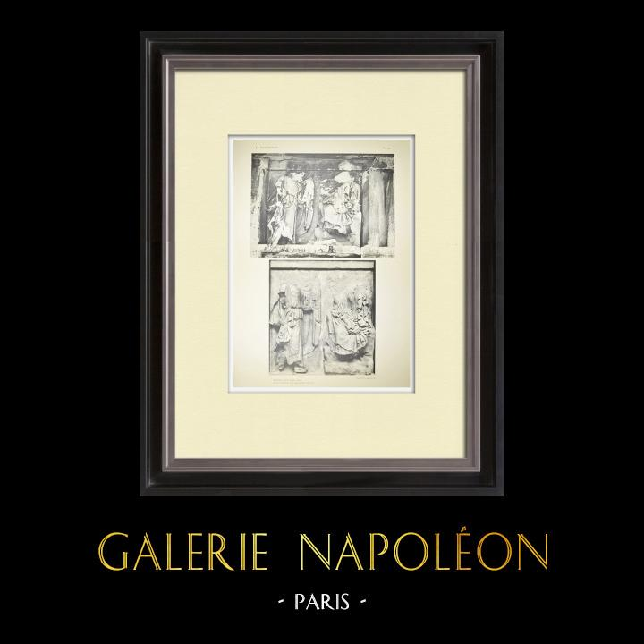 Gravures Anciennes & Dessins | Métopes du Parthénon - Face Nord - XXXII - Athéna et Héra (Grèce) | Héliogravure | 1912