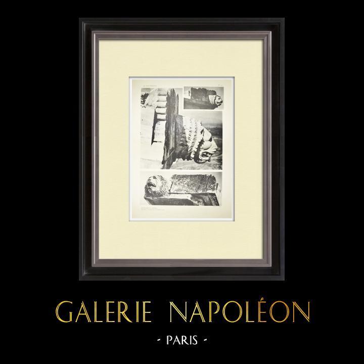Gravures Anciennes & Dessins | Vue du Parthénon, face nord - Décoration du chéneau (Grèce) | Héliogravure | 1912