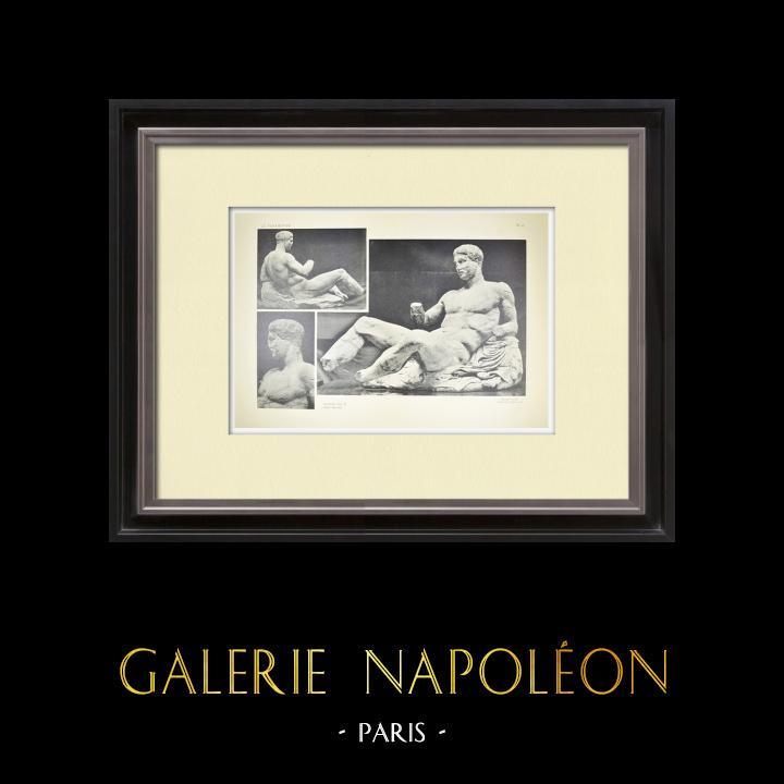 Alte Stiche & Zeichnungen | Ansicht von den Parthenon - Ostenpediment - Dionysos (Griechenland) | Heliogravüre | 1912