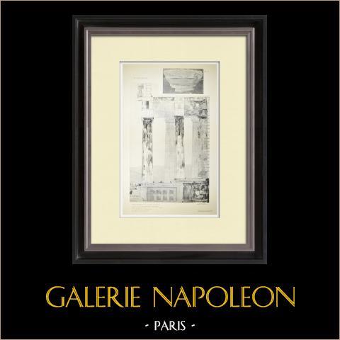 Vue du Parthénon - Opisthodome - Plafond du péristyle - Chapiteau (Grèce) | Héliogravure originale. Anonyme. 1912