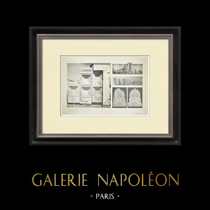 Stare Grafiki & Rysunki | Widok Partenon - Perystyl i Strop Portalu (Grecja) | Heliograwiura | 1912