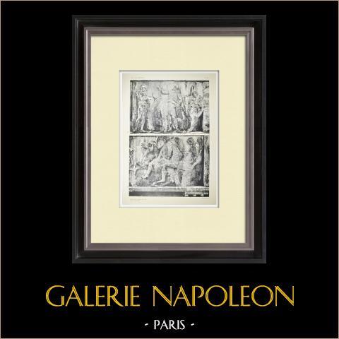 Partenón - Friso jónico de la Cella - Cara oeste - Pl. 80 | Heliograbado original. Anónimo. 1912