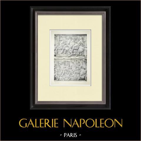 Partenón - Friso jónico de la Cella - Cara oeste - Pl. 81 | Heliograbado original. Anónimo. 1912