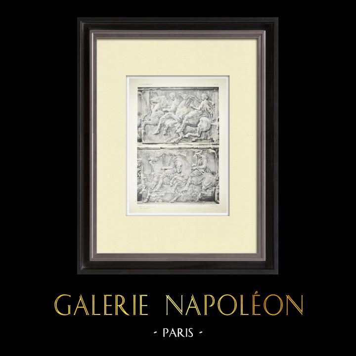 Gravures Anciennes & Dessins | Parthénon - Frise ionique de la Cella - Face ouest - Pl. 81 | Héliogravure | 1912