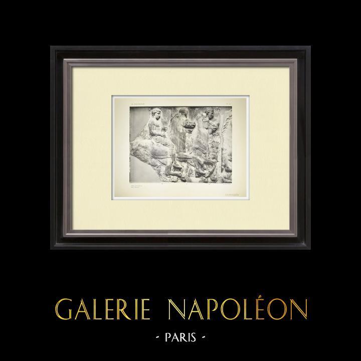 Gravures Anciennes & Dessins   Parthénon - Frise ionique de la Cella - Face sud - Pl. 91   Héliogravure   1912