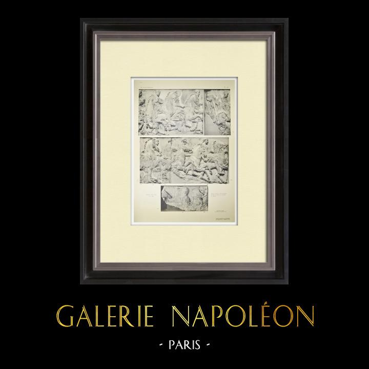 Gravures Anciennes & Dessins | Parthénon - Frise ionique de la Cella - Face sud - Pl. 92 | Héliogravure | 1912