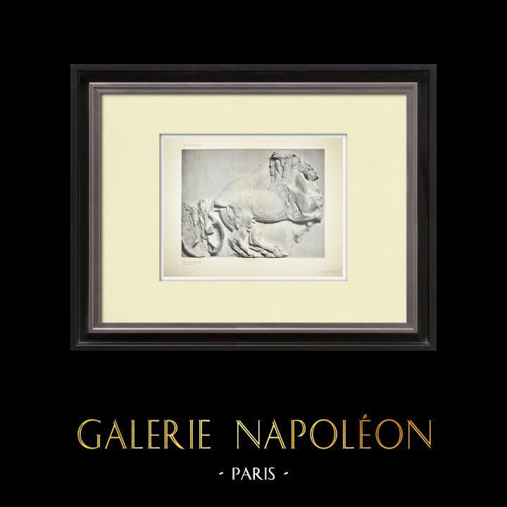Grabados & Dibujos Antiguos | Partenón - Friso jónico de la Cella - Cara sur - Pl. 96 | Heliograbado | 1912