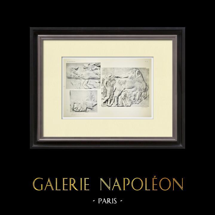Grabados & Dibujos Antiguos | Partenón - Friso jónico de la Cella - Cara sur - Pl. 95 | Heliograbado | 1912
