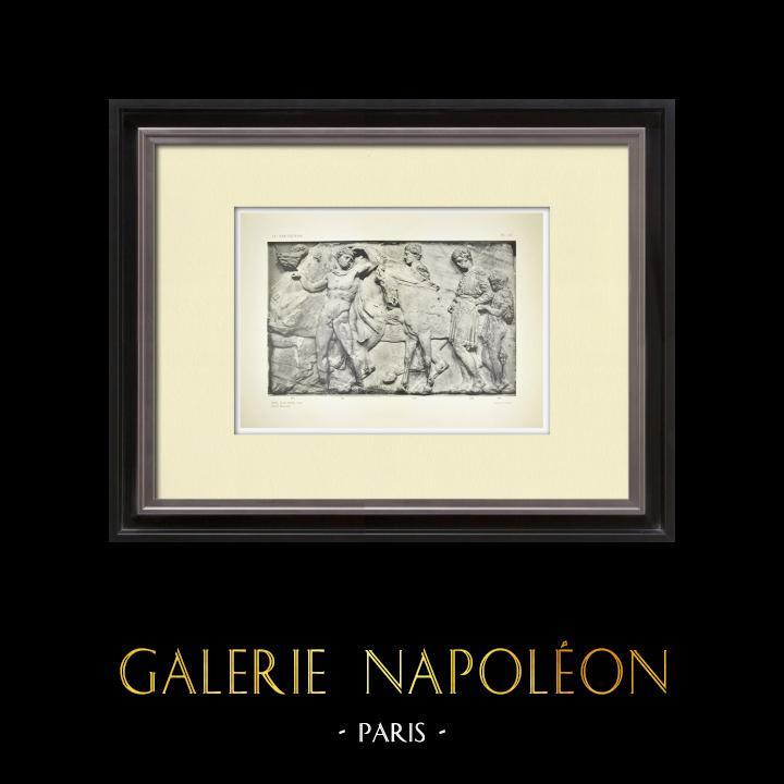 Grabados & Dibujos Antiguos | Partenón - Friso jónico de la Cella - Lado norte - Pl. 103 | Heliograbado | 1912