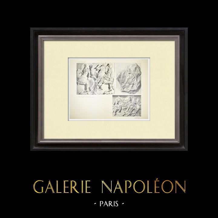 Gravures Anciennes & Dessins | Parthénon - Frise ionique de la Cella - Face nord - Pl. 110 | Héliogravure | 1912